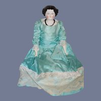 Antique Doll Smiling China Head Fancy Clothing Large Size