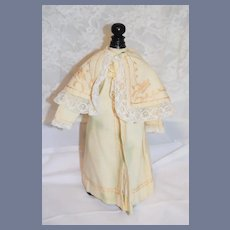 Beautiful Old Fancy Doll Coat with Embroidery and Lace Cape