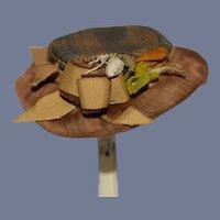 Old Doll Hat Bonnet Silk & Plaid W/ Bow Fashion Doll