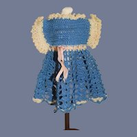 Miniature White And Blue Crochet Doll Dress