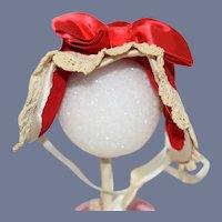 Beautiful Red Velvet Doll Bonnet