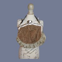 Brown Velvet Doll Purse with Silver Clasp