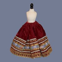 Beautiful Red Velvet And Gold Doll Skirt