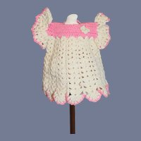 White And Pink Crochet Doll Dress