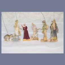 Wonderful Old Theater Theatre Doll Miniature Back Drops W/ Dolls Character Puss n Boots