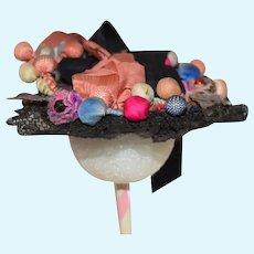 Beautiful Old Doll Hat Bonnet Topper Lace Balls Ribbon French Market