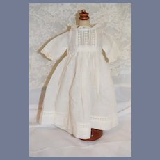 Old White Cotton Sweet Doll Dress Lace