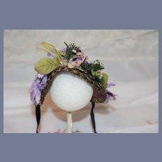 Beautiful Old Doll Bonnet Hat Topper Metal Thread Flowers Velvet French Market