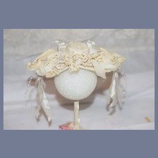Beautiful White Pearls And Bows Doll Bonnet Hat Topper