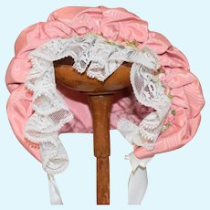 Pink Silk Flower Doll Bonnet Sweet Vintage Hand Made Lace Trim