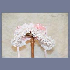 Light Pink Cloth Doll Bonnet