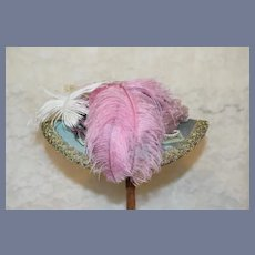 Beautiful Purple And Gold Doll Hat With Feathers Bonnet