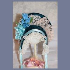 Vintage Doll Bonnet Hat Velvet Lace Flowers