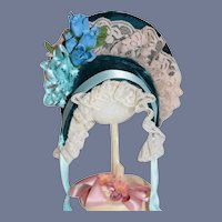 Vintage Doll Bonnet Hat Velvet Lace Flowers
