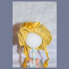Beautiful Golden Yellow Doll Bonnet