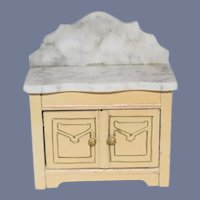 Old Doll Bornenes Miniature Marble Top Cabinet Chest Dollhouse