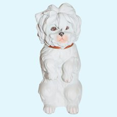 "Old Heubach Begging Dog Large Bisque 8"" Tall"