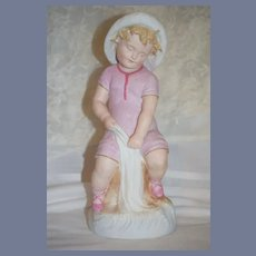 Old Heubach Figurine Doll Piano Baby Statue Boy in Swim Suit Large