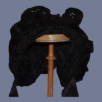 Antique Doll Bonnet Velvet Lambs Wool Black Hat W/ Fancy Bow on Top French Market
