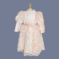 Beautiful Pink Doll Dress W/ Lace Over Fancy