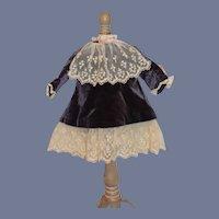 Vintage Dark Purple Velvet And White Lace Long Sleeved Doll Dress French Market