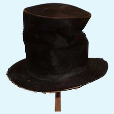 Antique Large Black Doll Top Hat Beaver French