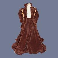 Wonderful Doll Vintage Velvet Fashion Doll Jacket Skirt Hand Made Two Piece Matching set