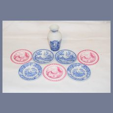Sweet Miniature Doll Spode Vase & Plates Set Blue and White Pink and White