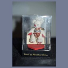 Vintage Becky Wheeler Miniature Teddy Bear Jointed W/ Wings In Orig Case