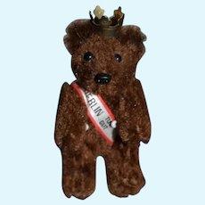 Wonderful Vintage Miniature Teddy Bear Berlin TUT GUT W/ Ribbon and Crown Schuco