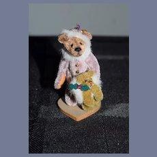 Vintage Artist Miniature Teddy Bear jointed W/ Bear Muff Signed Alexandra Dollhouse