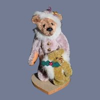 Vintage Artist Miniature Teddy Bear jointed W/ Bear Muff Signed Alexandra Dollhouse