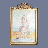 Vintage Doll Paintings Joan Mitchell Metal Ornate Frame Signed Dated Dollhouse Miniature