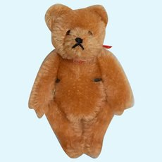 Small Golden Teddy Bear with Red Ribbon Bow