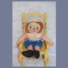 Raggedy Andy Doll Cloth Doll Rag Doll Sweet Plaid Shirt Blue Shorts
