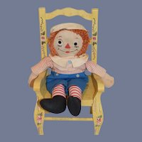 Raggedy Andy Doll Cloth Doll Rag Doll Sweet Plaid Shirt Blue Shorts