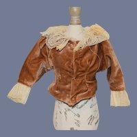 Brown Velvet Long Sleeved Doll Shirt