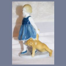 Sweet Doll Figurine Girl W/ Teddy Bear Heubach Porcelain Adorable