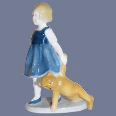 Sweet Doll Figurine Girl W/ Teddy Bear Heubach Porcelain Adorable