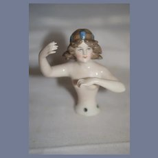 Wonderful Old Half Doll China Head Arms Away Fancy Head Piece