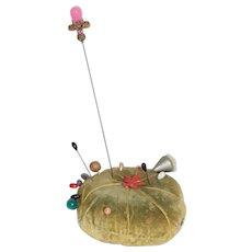 Large Pea Green Velvet Pin Cushion with Pins Included
