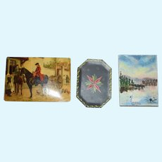 Miniature Set of Painting Print and a Artist Tole Tray Signed