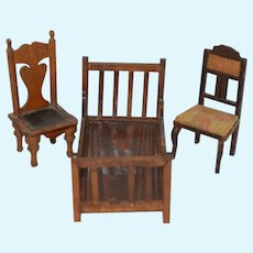 Vintage Miniature Wood Doll Dollhouse Furniture Bed Chairs Sweet