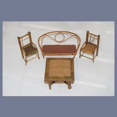 Vintage Doll Miniature Bamboo Wood Dollhouse Furniture Settee Table Two Chairs