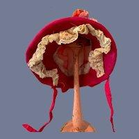Pink Silk Doll Bonnet With Velvet Flowers