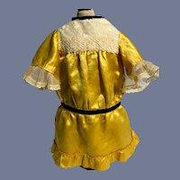 Beautiful Golden Yellow Silk Doll Dress