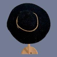 Miniature Black Wool Doll Sun Hat