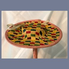 Rainbow Woven Straw Doll Hat