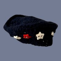 Navy Blue Knit Doll Hat With Red And White Stars
