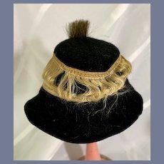 Old Black Felt Doll Hat with Gold Ribbon Details